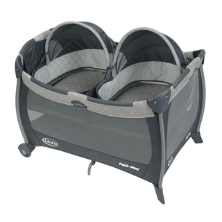 Graco Pack 'n Play Grey Plastic Playard With Twin Bassinets
