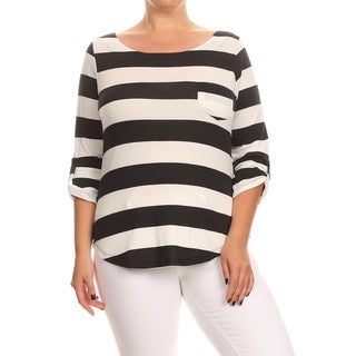 MOA Collection Women's Plus Size Striped Tunic