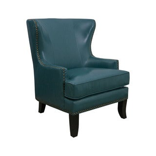 Mayfair 1378-01 Peacock Blue Faux-leather Winged Accent Chair