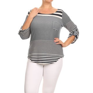 MOA Collection Women's DE36766XT Beige/Red Polyester/Spandex Plus-size Striped Tunic