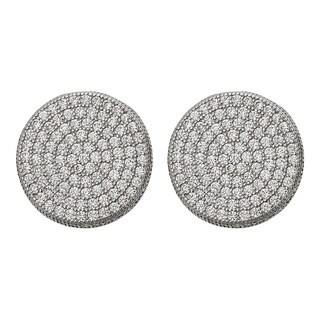 Decadence Sterling Silver Micropave Round Men's Stud Earrings (2 options available)