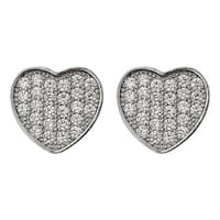 Decadence Sterling Silver Micropave Heart Stud Earrings