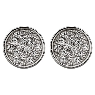 Decadence Sterling Silver Micropave 7mm Round Stud Earrings