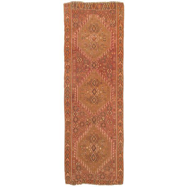 eCarpetGallery Anatolian Brown/Black/Cream/Khaki Hand-woven Wool Kilim Rug