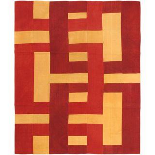 ecarpetgallery Beige/Red Wool Hand-woven Kilim Rug (6'7 x 8'2)