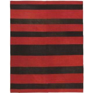 ecarpetgallery Black/Red Wool Hand-woven Kilim Rug (6'7 x 8'2)