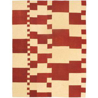 Flat-weave Bohemian Cream Wool Kilim