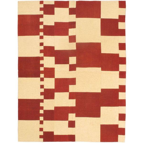 eCarpetGallery Bohemian Ivory Hand-woven Wool Kilim (4'11 x 6'7)