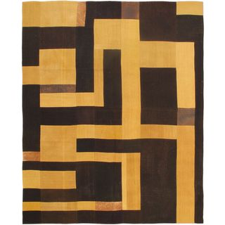 Ecarpetgallery Bohemian Yellow/Black Wool Hand-woven Kilim Rug (6'7 x 8'2)