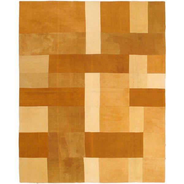ecarpetgallery Brown Wool Handwoven Bohemian Kilim (6'7 x 8'2)