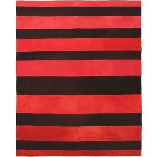 eCarpetGallery Bohemian Red Hand-woven Wool Kilim Rug (6'7 x 8'2)