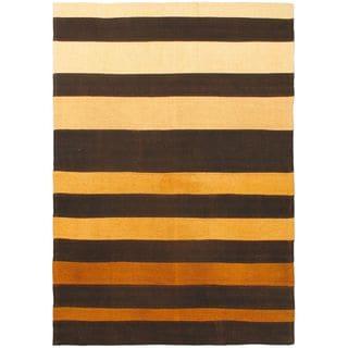 eCarpetGallery Black/Orange Wool Contemporary Striped Hand-woven Rug (4'0 x 5'7)