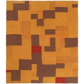 ecarpetgallery Brown Wool Hand-woven Bohemian Kilim Rug (5'3 x 5'11)