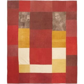 eCarpetGallery Bohemian Pink Hand-woven Wool Kilim Rug (8'2 x 9'10)