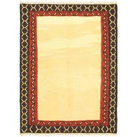 Ecarpetgallery Anatolian Cream/Black/Copper/Gold Wool Hand-woven Kilim Rug
