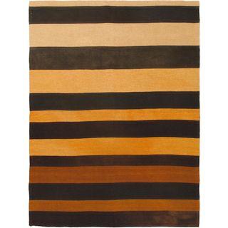 EeCarpetGallery Bohemian Black/Beige/Cream/Dark Brown/Dark Orange Wool Kilim Hand-woven Rug (4'11 x 6'7)