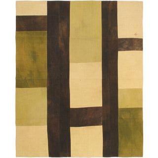 Ecarpetgallery Bohemian Black/Cream/Cyan/Khaki/Light Green Wool Kilim Hand-woven Rug (6'7 x 8'2)