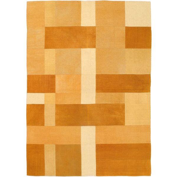eCarpetGallery Orange Wool Handwoven Kilim Rug (5'7 x 7'10)