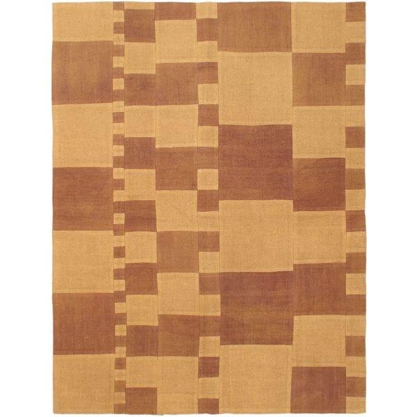 eCarpetGallery Beige/Brown Wool Hand-woven Bohemian Kilim Rug