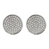 Decadence Sterling Silver Micropave Round Men's Stud Earrings
