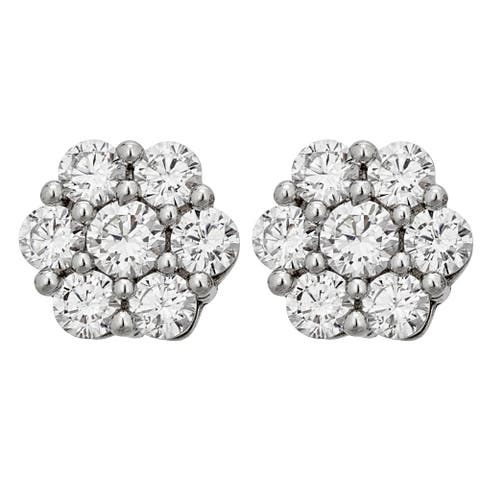 Decadence Sterling Silver Pave Round Cluster Stud Earrings