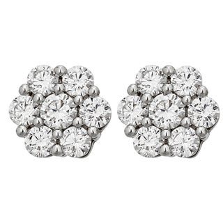 Decadence Sterling Silver Pave Round Cluster Stud Earrings (2 options available)