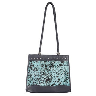 Scully Black and Turquoise Hair-on-calf Leather Handbag