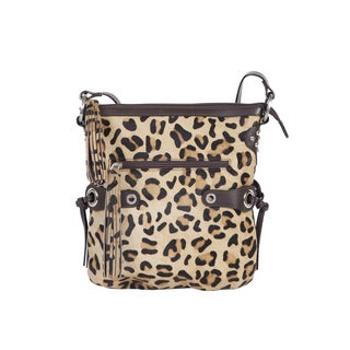 Scully Leather Cheetah Print Hair On-calf Leather Handbag with Zip Closure