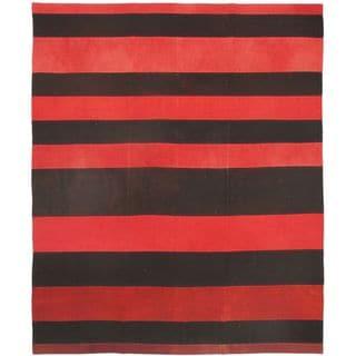 eCarpetGallery Bohemian Black/Red Wool Hand-woven Kilim Rug