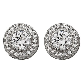 Decadence Sterling Silver Micropave Milgrain Round Stud Earrings