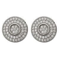Decadence Sterling Silver Micropave Round Stud Earrings