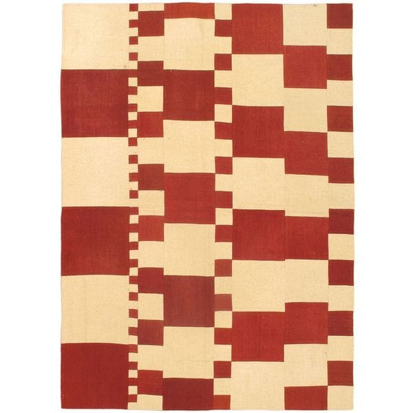 Ecarpetgallery Cream/Dark Red Wool Bohemian Hand-woven Rug (5' 7 x 7' 10)