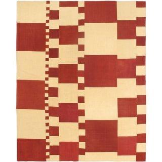 eCarpetGallery Handwoven Cream/Red Wool Kilim Rug (6'7 x 8'2)