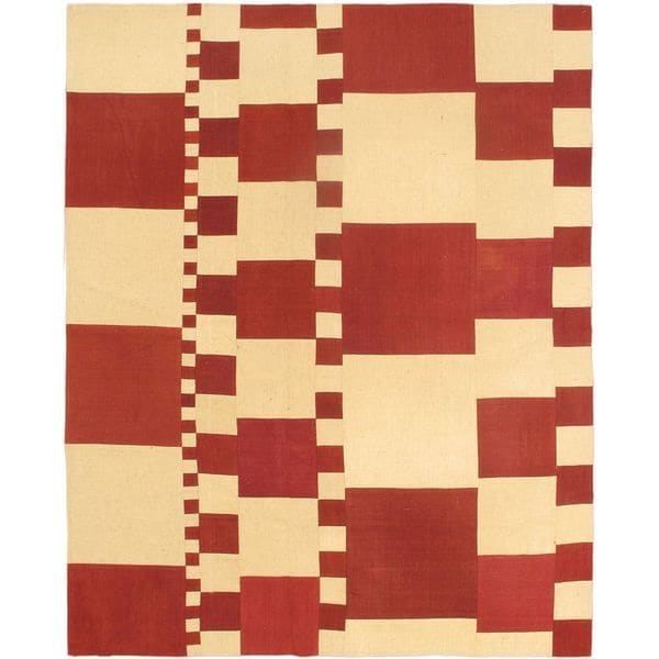 eCarpetGallery Handwoven Cream/Red Wool Kilim Rug (6'7 x 8'2)