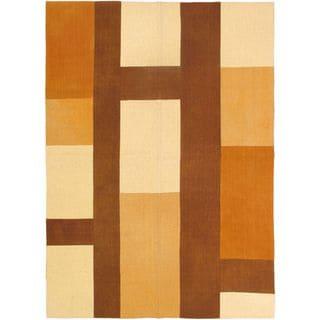 ecarpetgallery Handwoven Orange/Brown Wool Kilim Rug (5'7 x 7'10)