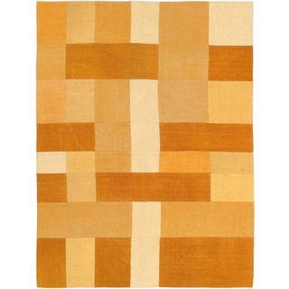 ecarpetgallery Bohemian Handwoven Orange Wool Kilim Rug (4'11 x 6'7)
