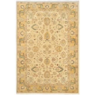 Ecarpetgallery Chobi Yellow Wool/Cotton Hand-Knotted Rug (9' x 6')