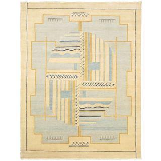 eCarpetGallery Finest Ziegler Chobi Light Yellow/Light Brown/Light Blue/Dark Navy Wool/Cotton Hand-knotted Rug (8'1 x 10'4)