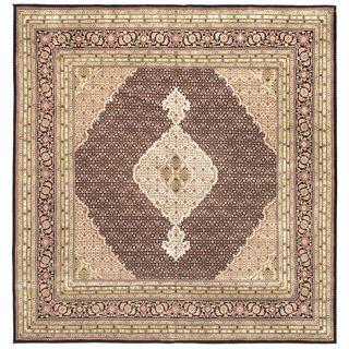 eCarpetGallery Tabriz Haj Jalili Brown Wool/Silk Hand-knotted Rug (8'0 x 8'3)