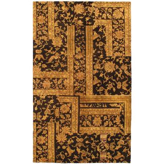 eCarpetGallery Patch Deluxe Black/Beige Hand-knotted Wool Rug (4'9 x 8'0)