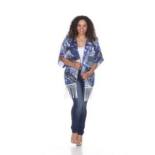 White Mark Women's Plus Size Fringe Kimono