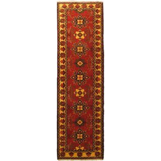 eCarpetGallery Uzbek Kargahi Red/Yellow Cotton/Wool Hand-knotted Rug (2'10 x 9'10)