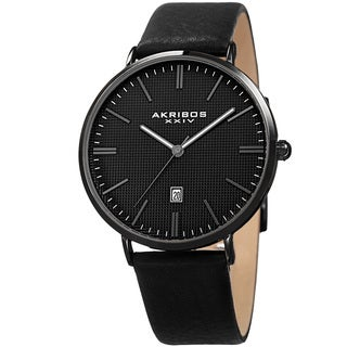 Akribos XXIV Men's Quartz Easy-to-Read Date Leather Black Strap Watch with Gift Box