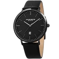 Akribos XXIV Men's Quartz Easy-to-Read Date Leather Black Strap Watch