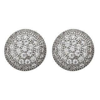 Decadence Sterling Silver Micropave Round Earrings