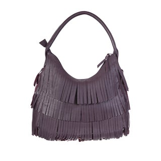 Scully Large Purple Leather Fringe Handbag