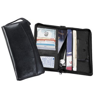Goodhope Black Leather 9.25-inch x 4.75-inch Travel Passport Wallet