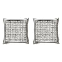 Decadence Sterling Silver Micropave Curved Square Stud Earrings