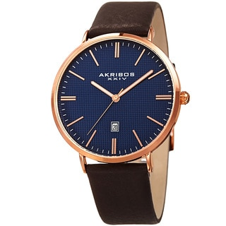 Akribos XXIV Men's Quartz Easy-to-Read Date Leather Rose-Tone Strap Watch with Gift Box