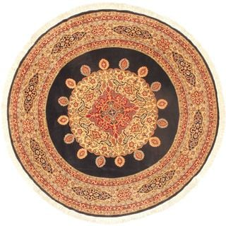 ecarpetgallery Sino Persian Brown/Cream/Navy/Light Blue/Red Cotton and Wool Hand-knotted Rug (9'10x9'10)